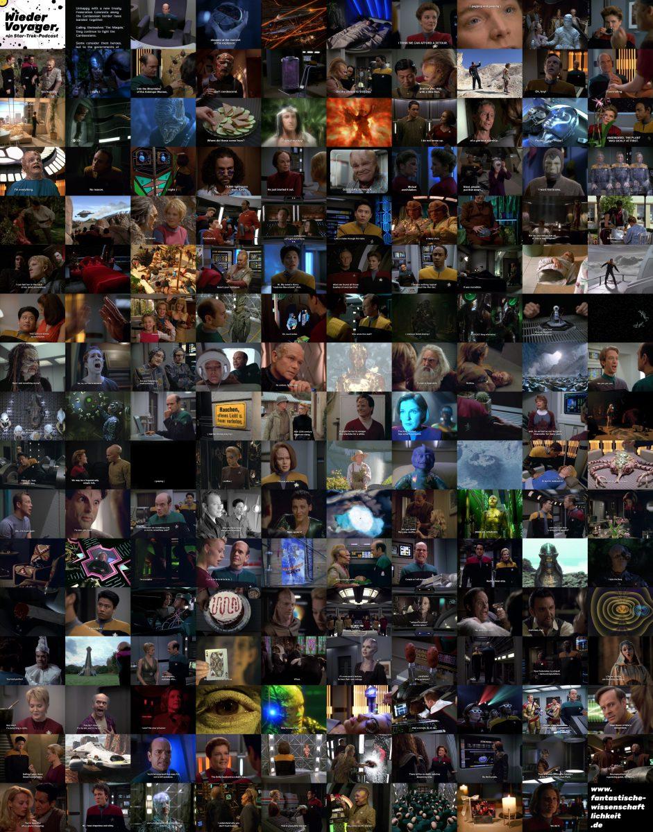 Montage aus 168 Screenshots, eins aus jeder Folge Star Trek Voyager
